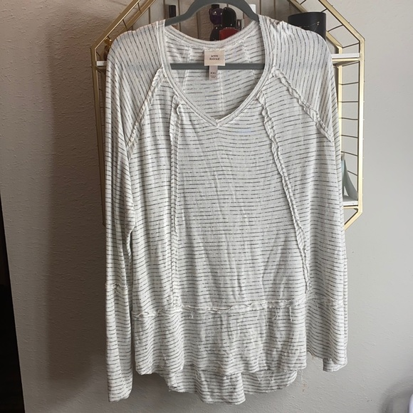 Knox Rose long sleeve white striped shirt